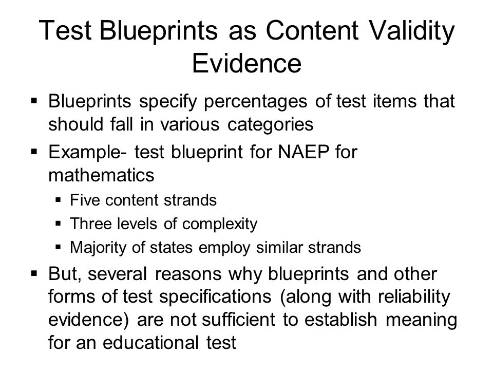 Construct validity a universal validity system ppt download 28 test blueprints malvernweather Choice Image