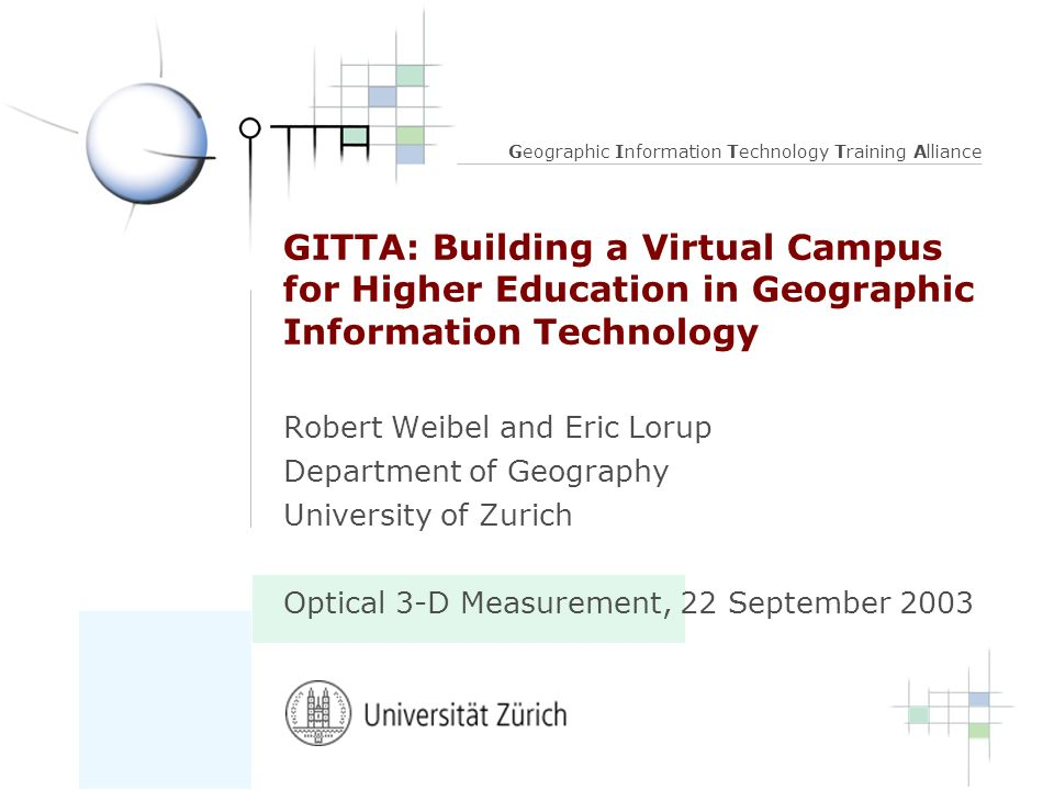 GITTA: Building a Virtual Campus for Higher Education in Geographic Information Technology