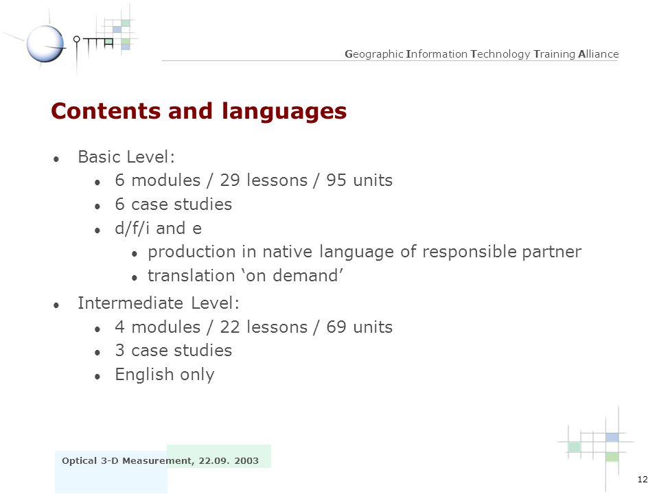 Contents and languages
