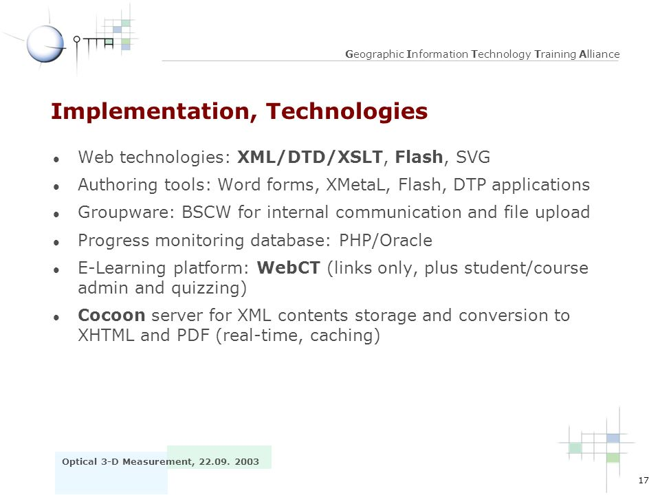Implementation, Technologies