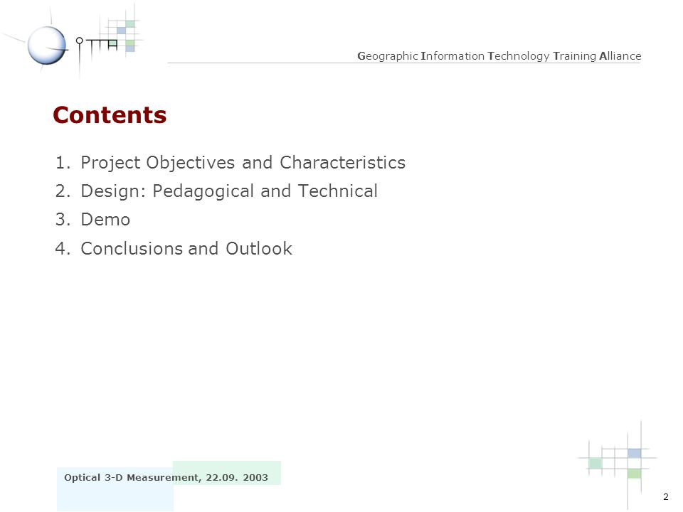 Contents 1. Project Objectives and Characteristics