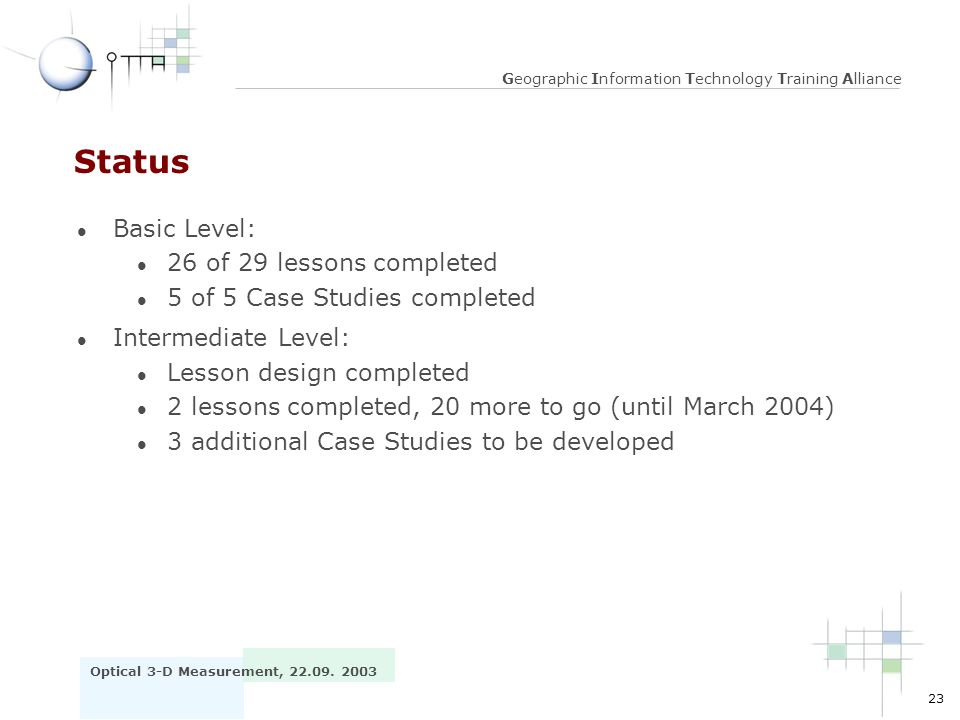Status Basic Level: 26 of 29 lessons completed