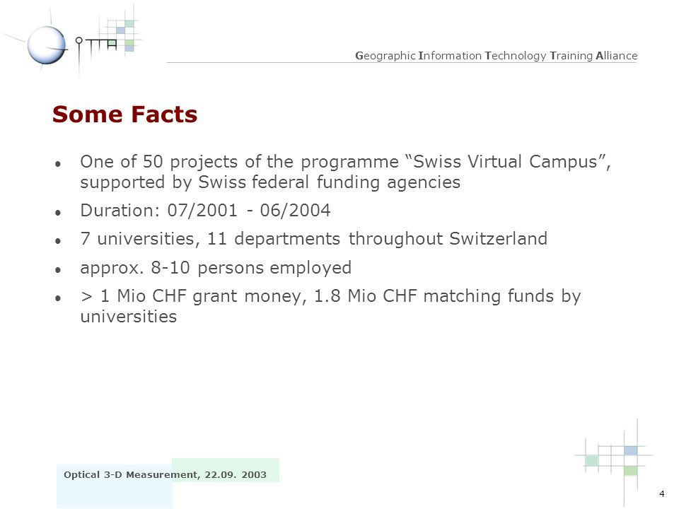 Some Facts One of 50 projects of the programme Swiss Virtual Campus , supported by Swiss federal funding agencies.