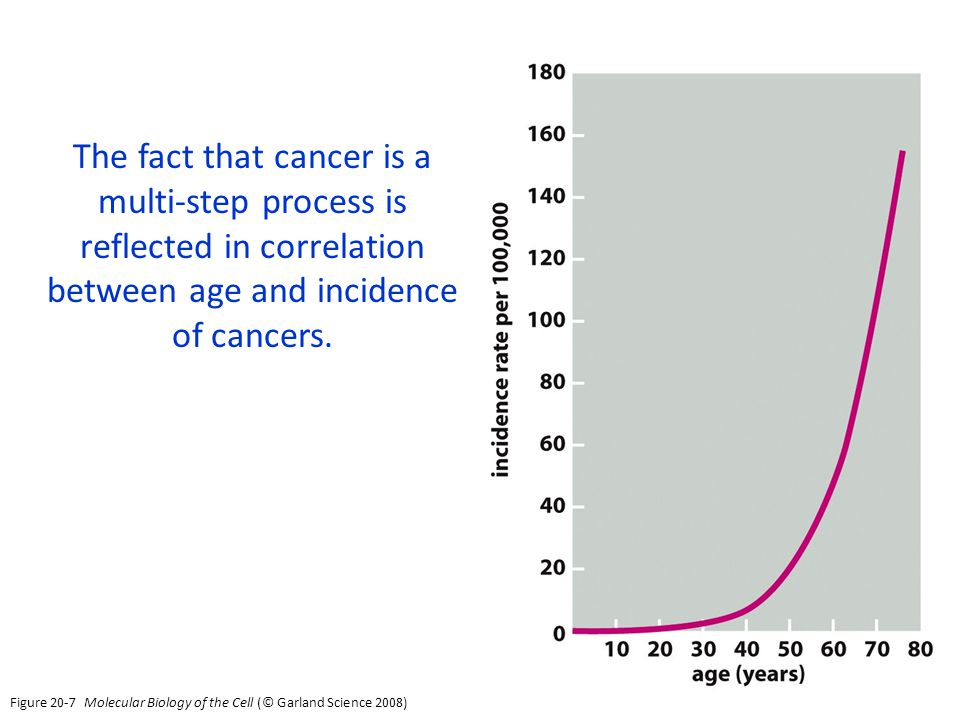 The fact that cancer is a multi-step process is reflected in correlation between age and incidence of cancers.