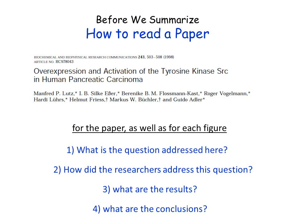 How to read a Paper Before We Summarize