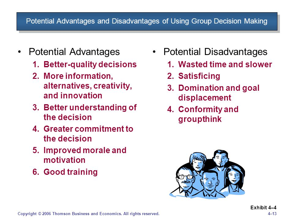 advantages and disadvantages group decision making busines Centralization in an organization: advantages and disadvantages written by asma zaineb centralization in any business organization is the spotlight of pre-eminence and control which lies in the hands of very few people.