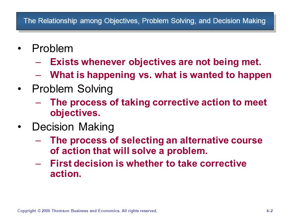 desicion making and problem solving 2 decision making and problem solving strategies – but you can at least make sure that you use the well tried-and-tested processes of thinking to some purpose.