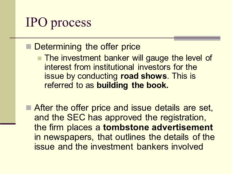 IPO process Determining the offer price