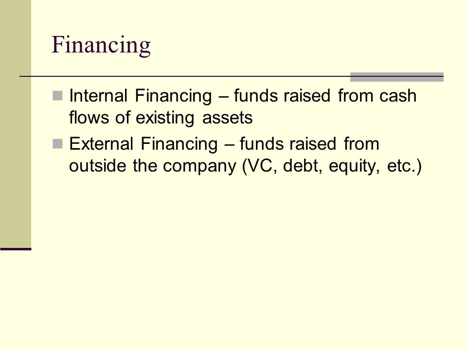 Financing Internal Financing – funds raised from cash flows of existing assets.