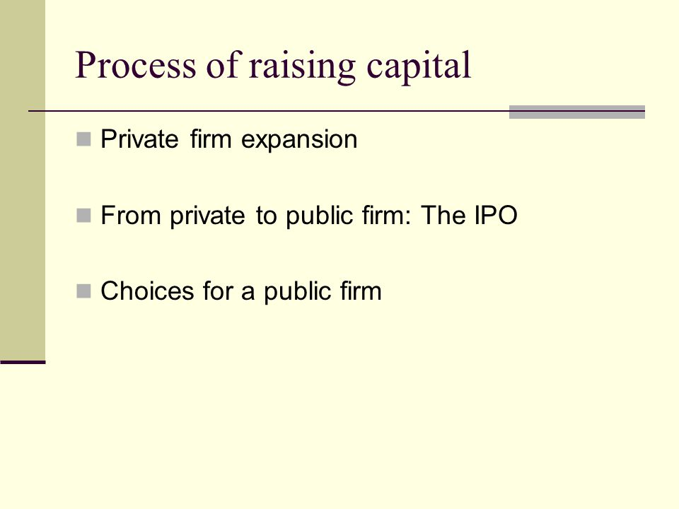 Process of raising capital