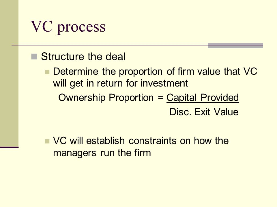 VC process Structure the deal