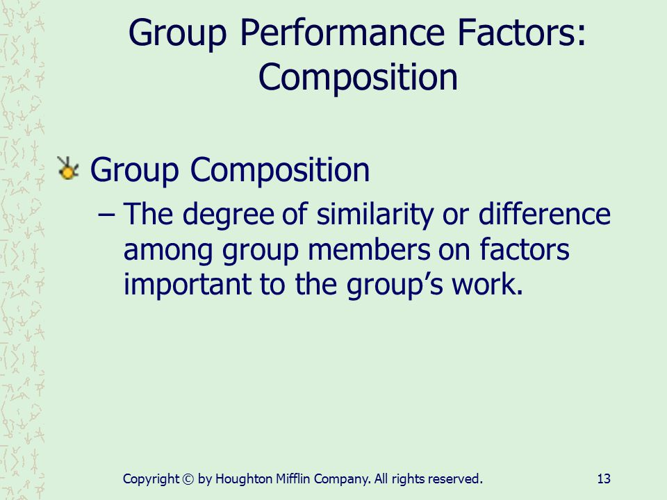 Group Performance Factors: Composition
