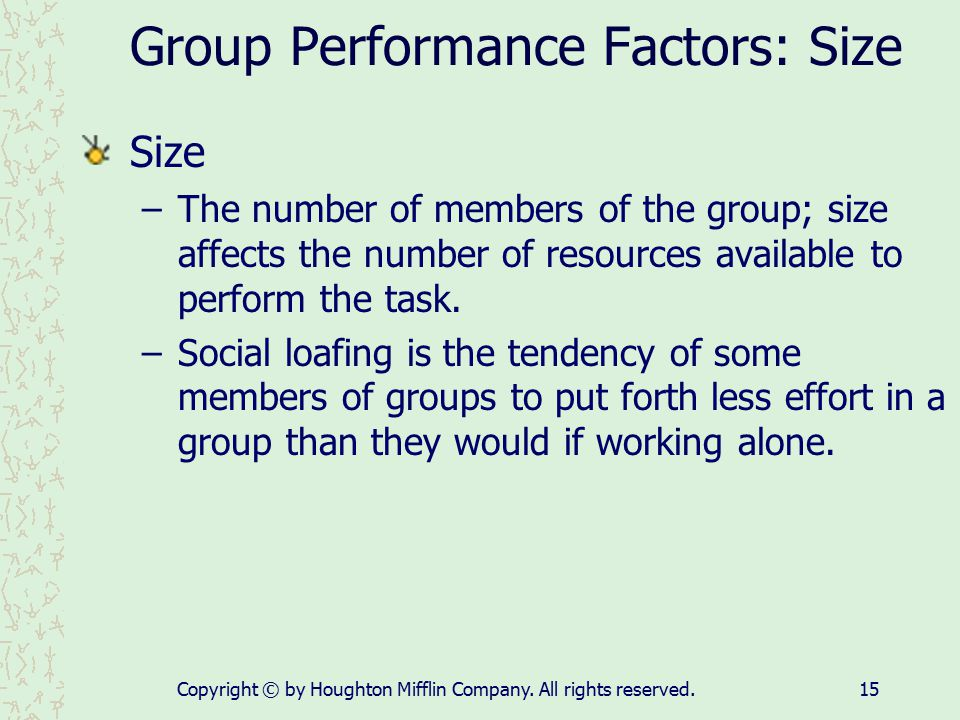 Group Performance Factors: Size
