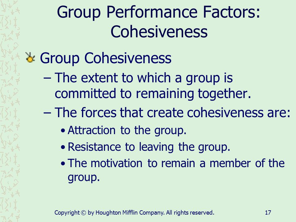 group cohesion and performance If you are lucky enough to get this bonding within a group you have taken a massive step in terms of creating team cohesion  it is a vital component when attempting to maximise performance team cohesion, while vital, is elusive & must be constantly worked on & improved upon to get the best results for your team share tweet pin it +1.