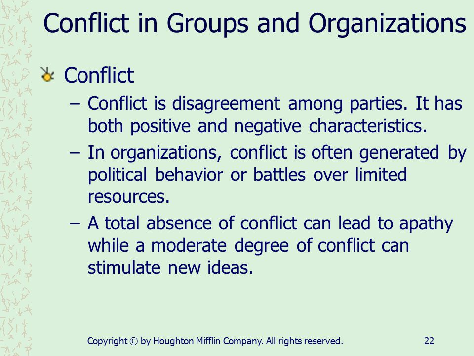 Conflict in Groups and Organizations
