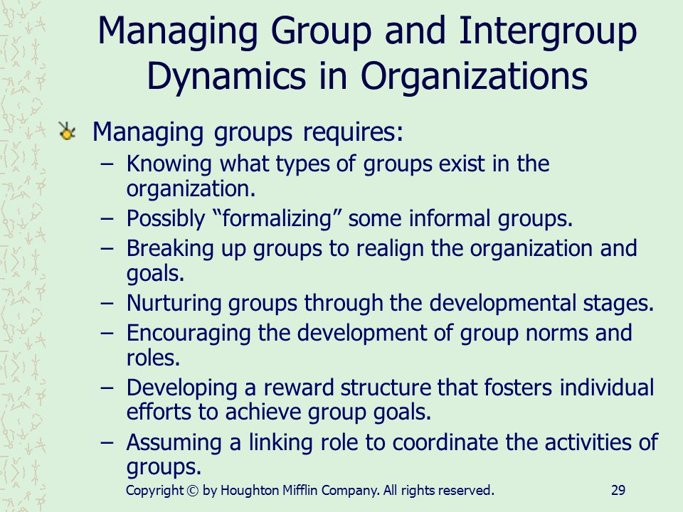Managing Group and Intergroup Dynamics in Organizations