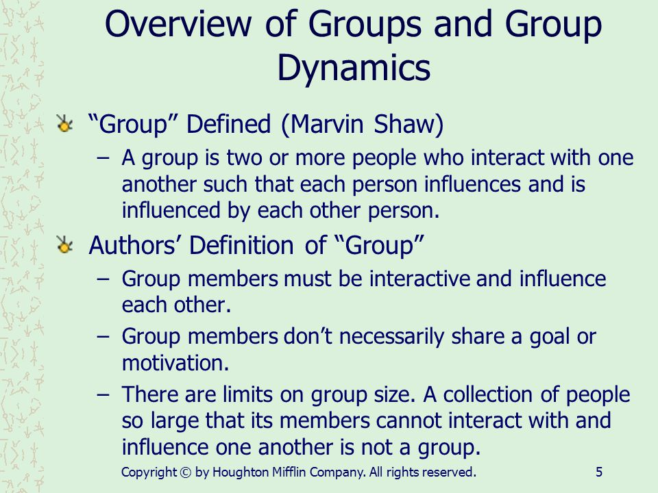 Overview of Groups and Group Dynamics