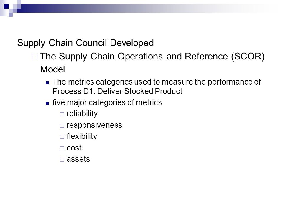 Supply Chain Council Developed