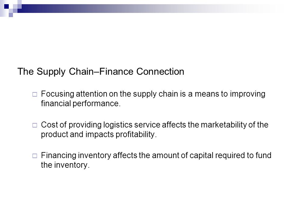 The Supply Chain–Finance Connection