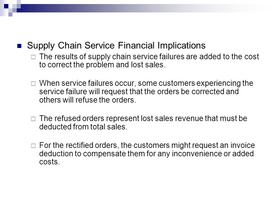 Supply Chain Service Financial Implications
