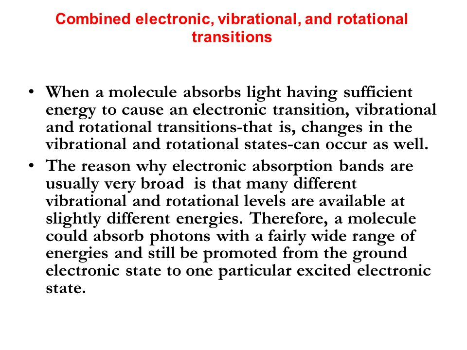 Combined electronic, vibrational, and rotational transitions