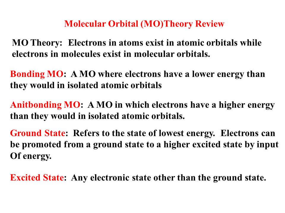 Molecular Orbital (MO)Theory Review