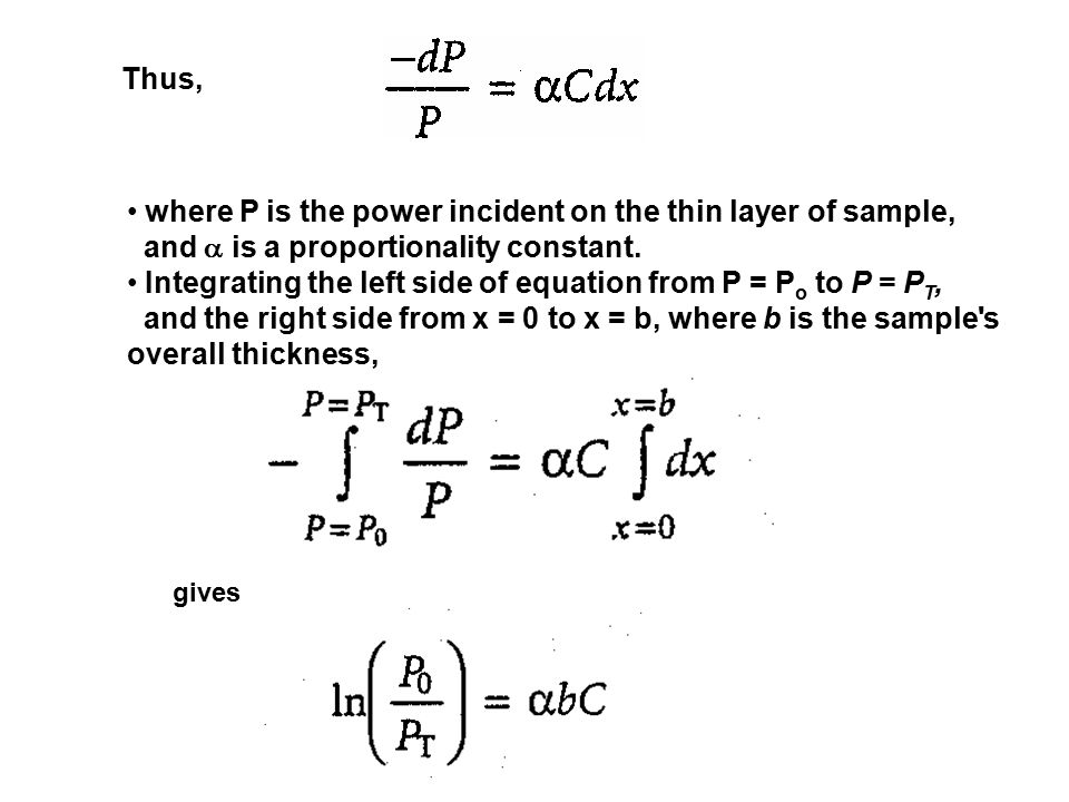 where P is the power incident on the thin layer of sample,