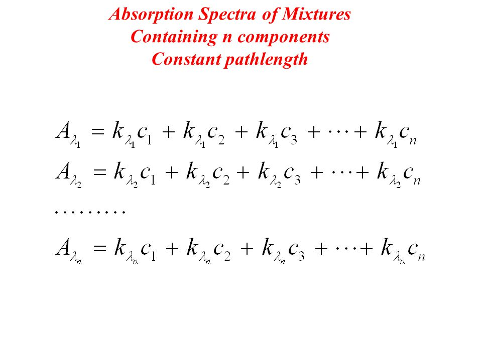 Absorption Spectra of Mixtures Containing n components