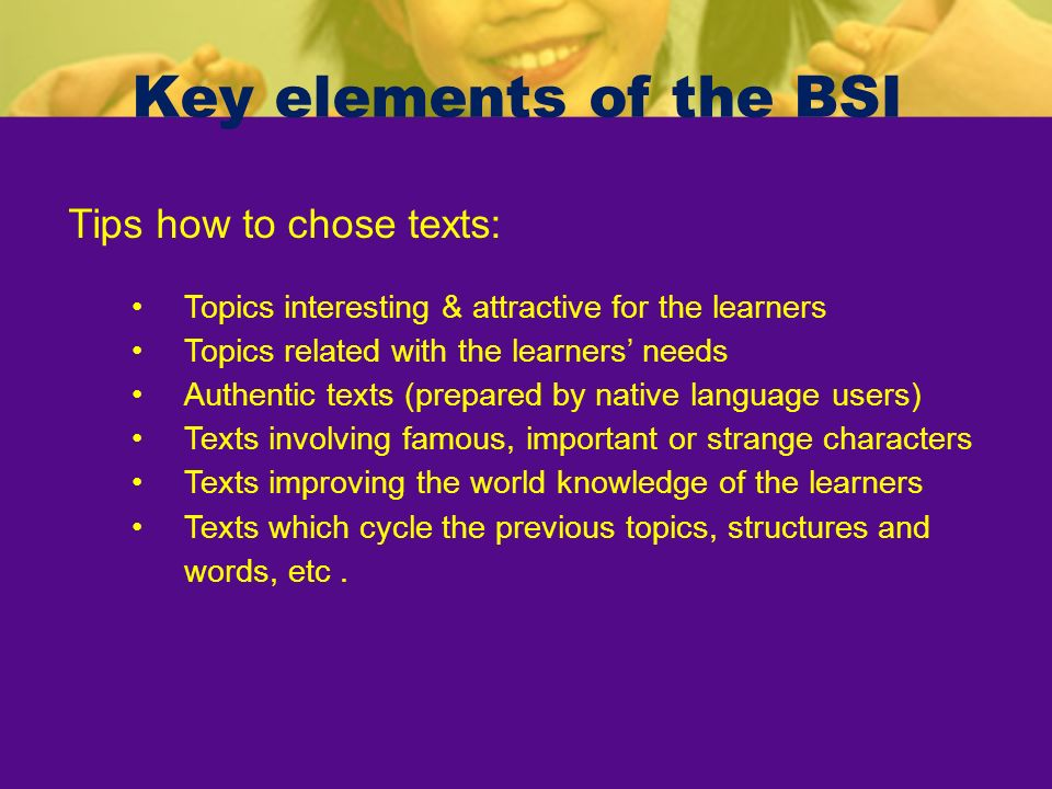 Key elements of the BSI Tips how to chose texts: