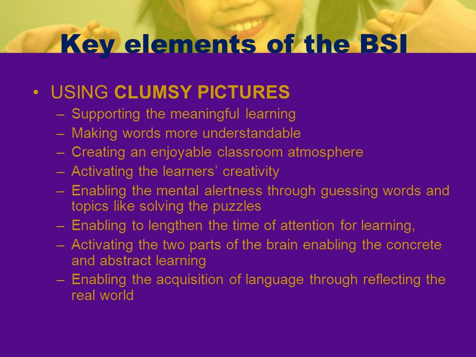 Key elements of the BSI USING CLUMSY PICTURES