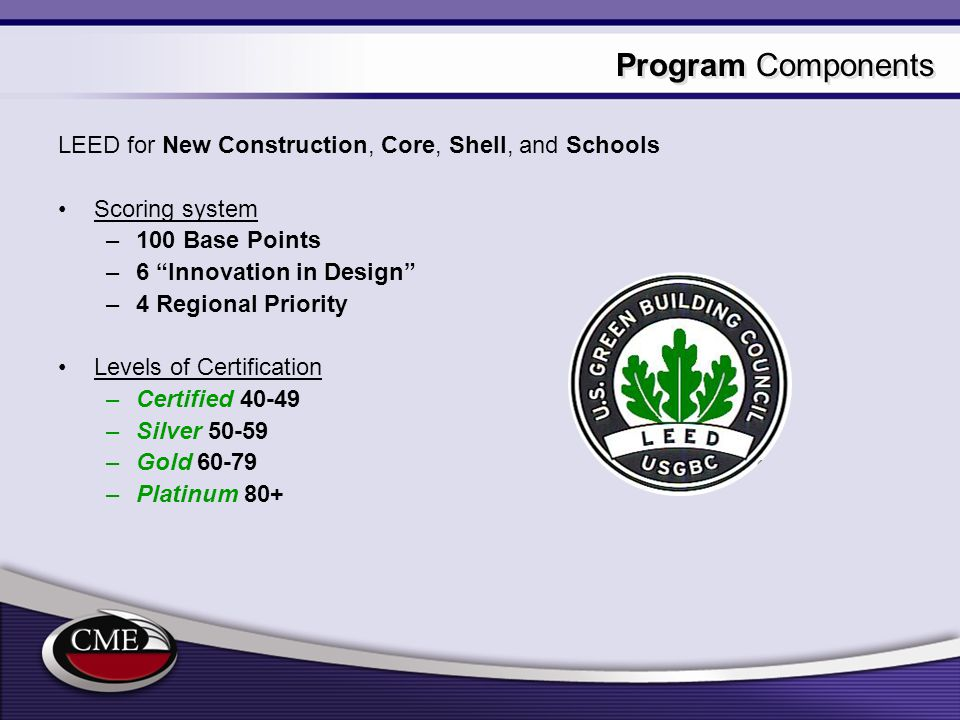 Program Components LEED for New Construction, Core, Shell, and Schools
