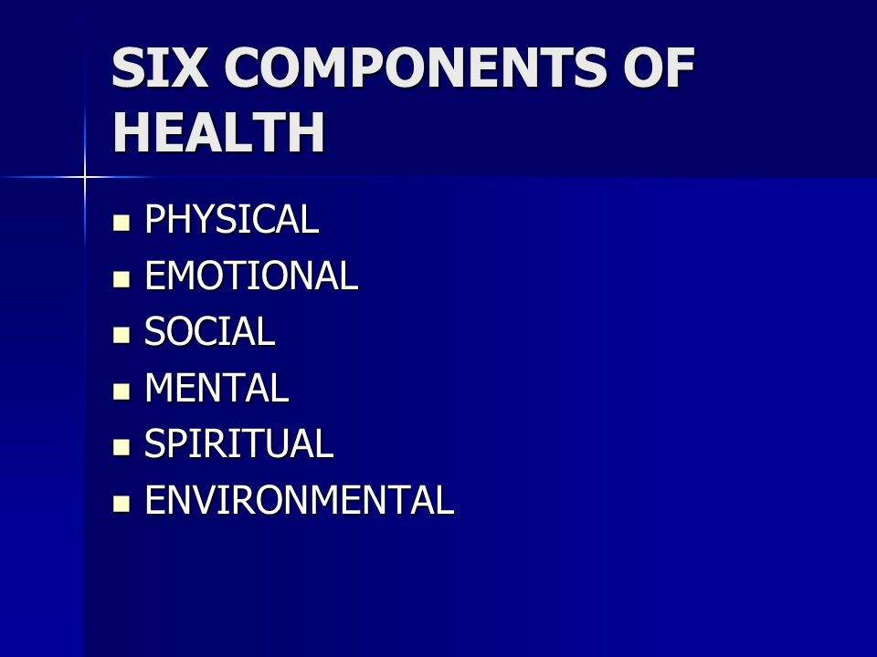 six components of health essay The strategy for moving to a high-value health care delivery system comprises six interdependent components: the six components of the value agenda are distinct but mutually reinforcing organizing into ipus makes proper measurement of outcomes and costs easier.