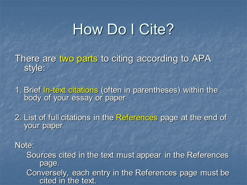 apa in-text citation in the body of your essay If you list the name of the author, the parenthetical citation need only contain the  page number, because the year of publication  author not named within the  paper  if no page numbers are available for a document, apa requires the.