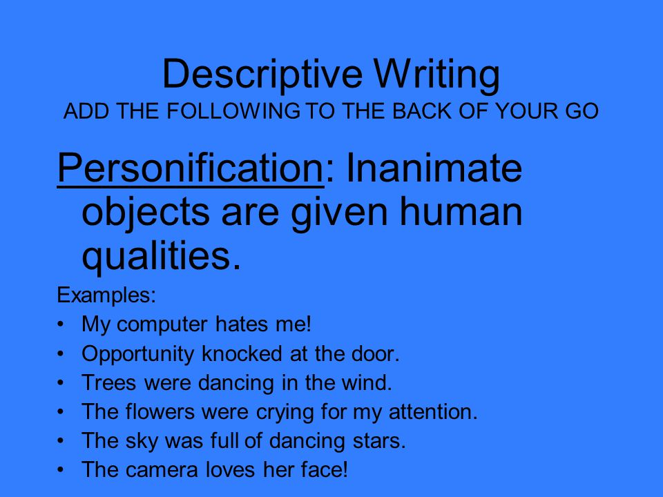 descriptive essay samples The descriptive essay asks the writer to describe something—an object, person, place, experience, emotion, or situation this essay attempts to convey how that subject looked, felt, tasted, sounded, smelled, and so on, and express the emotion or sensation so clearly and vividly that the reader can feel it, too.