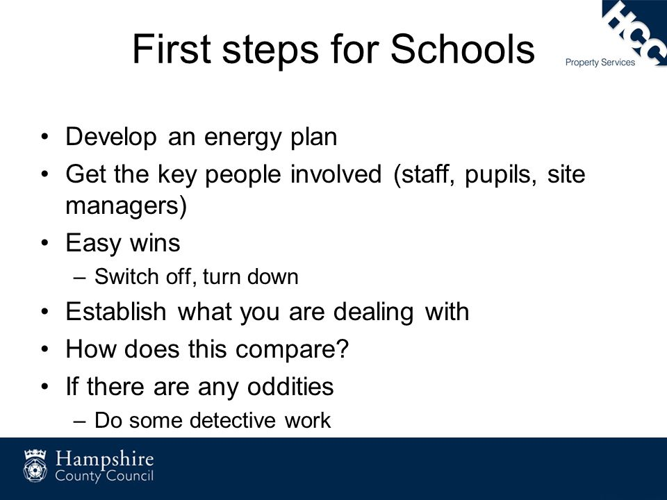 First steps for Schools