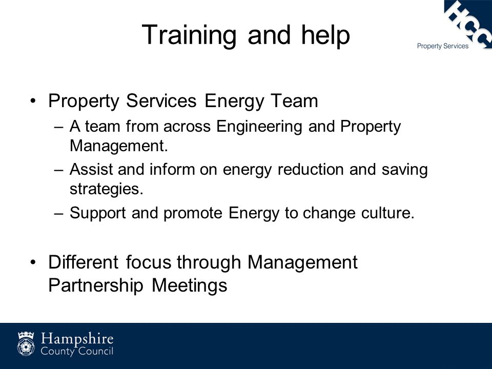 Training and help Property Services Energy Team