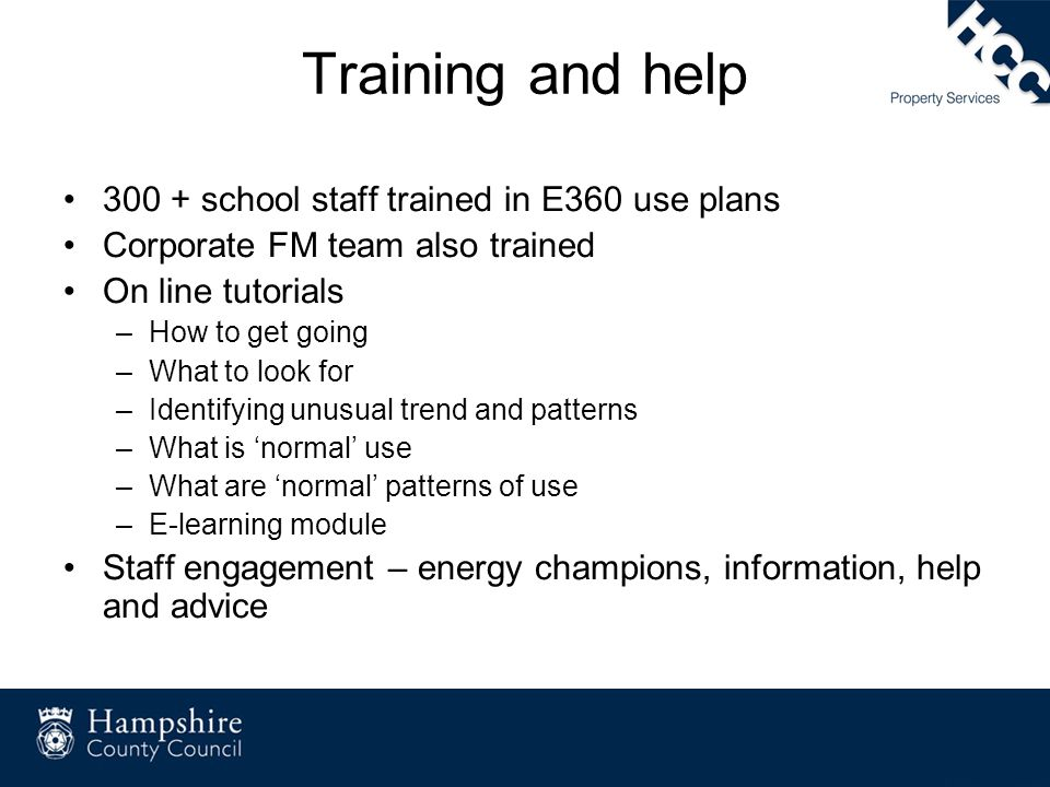 Training and help 300 + school staff trained in E360 use plans