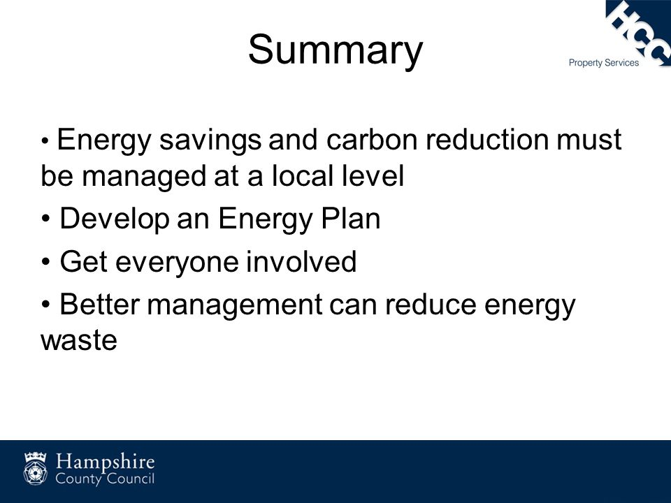 Summary Develop an Energy Plan Get everyone involved