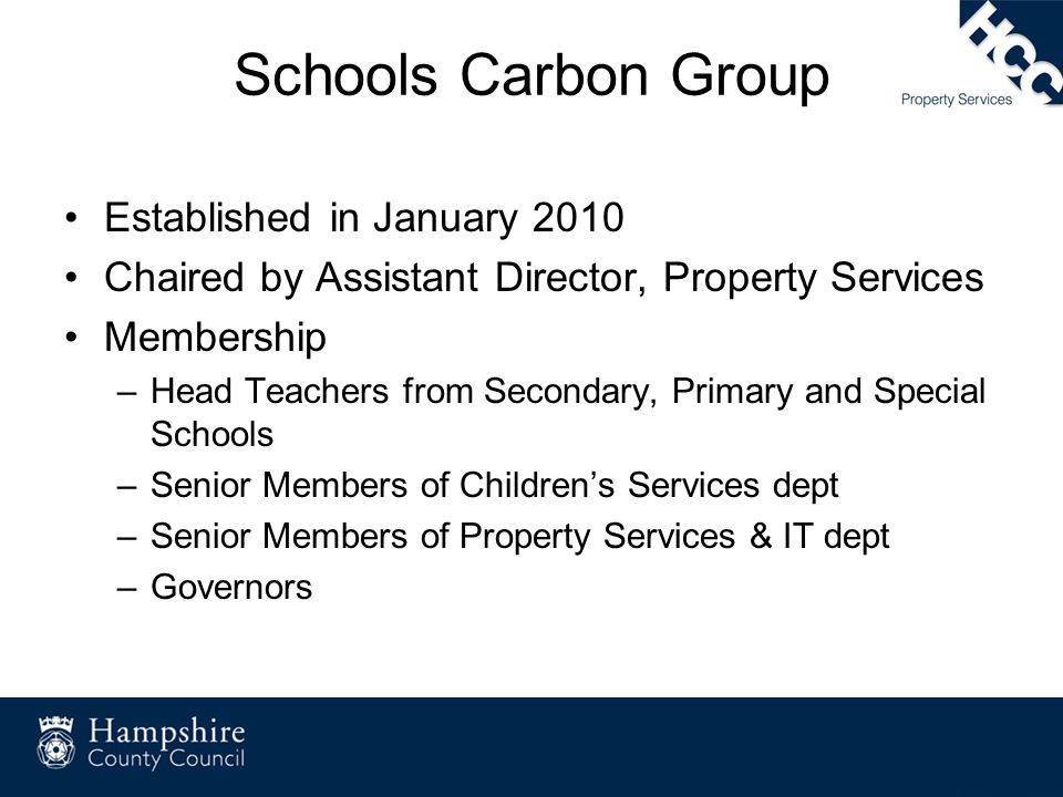 Schools Carbon Group Established in January 2010