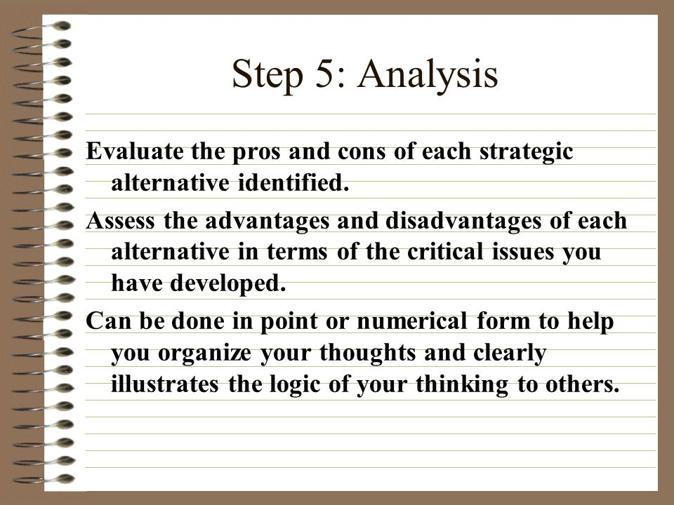 Step 5: Analysis Evaluate the pros and cons of each strategic alternative identified.