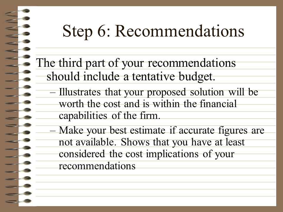 Step 6: Recommendations