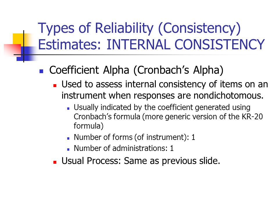 types of reliability in research Reliability refers to consistency with which the research will produce the same results if repeated validity refers to accuracy or correctness of the findings the following video provides an excellent introductory overview to reliability and validity, including an explanation of terms and specific examples.