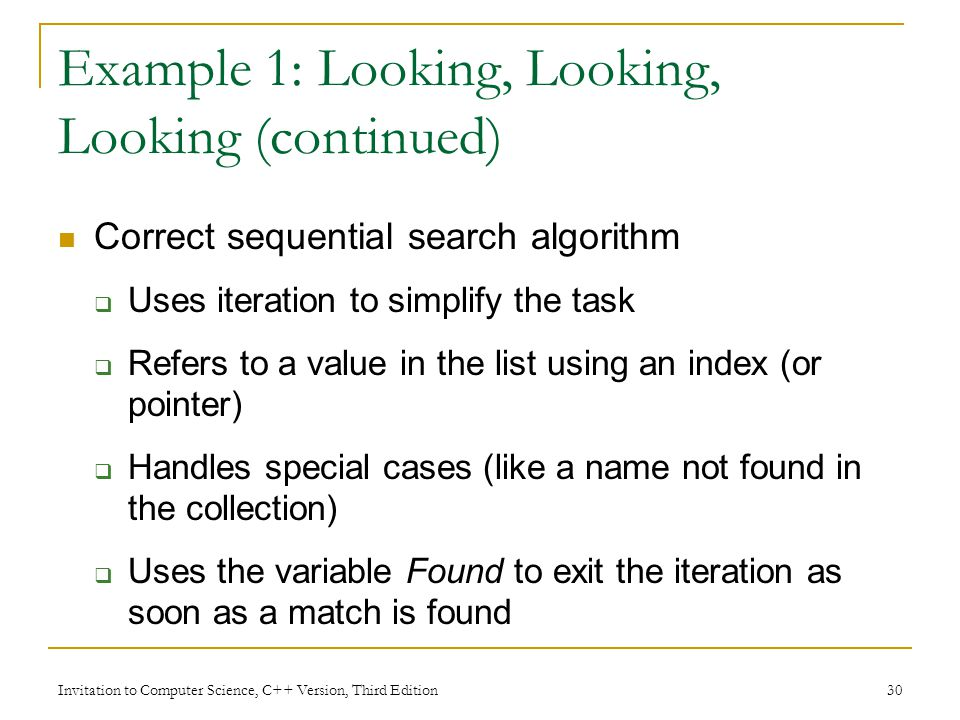 Example 1: Looking, Looking, Looking (continued)