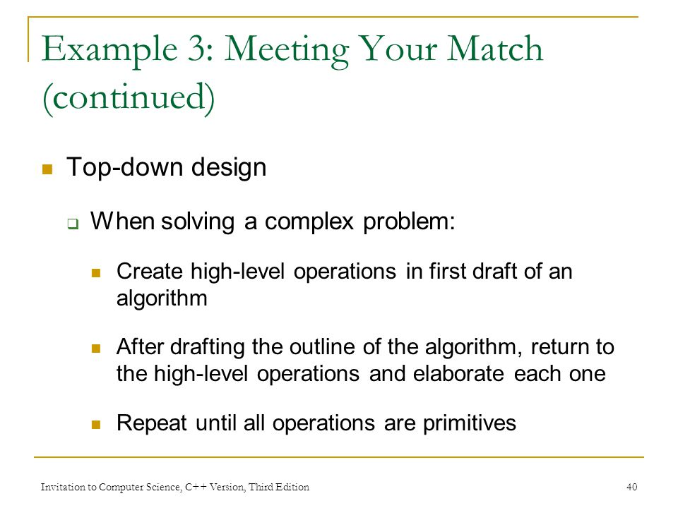 Example 3: Meeting Your Match (continued)
