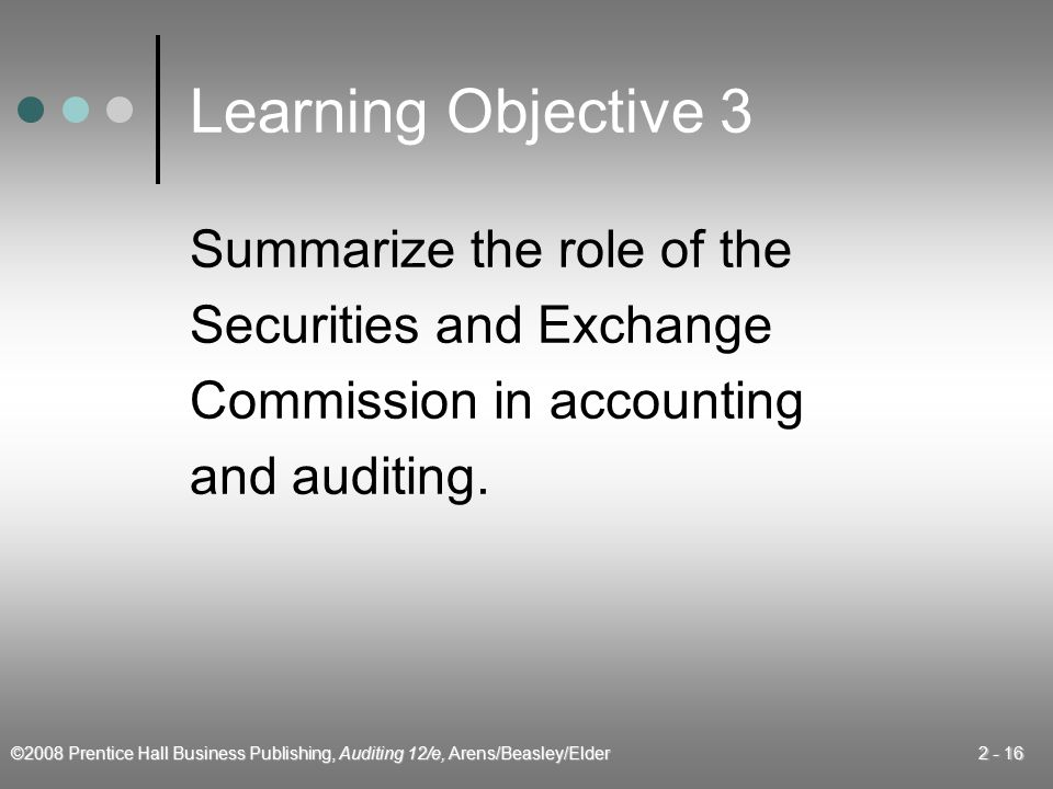 Learning Objective 3 Summarize the role of the Securities and Exchange