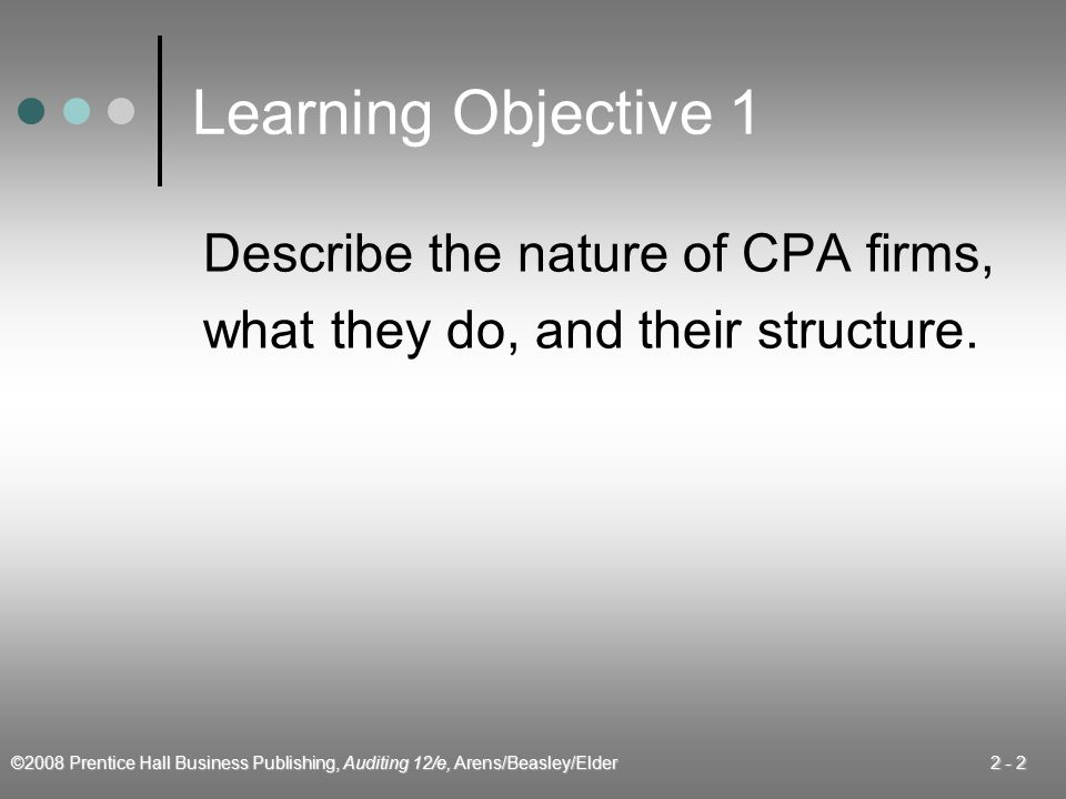 Learning Objective 1 Describe the nature of CPA firms,