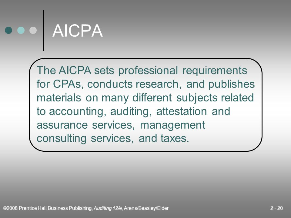 AICPA The AICPA sets professional requirements