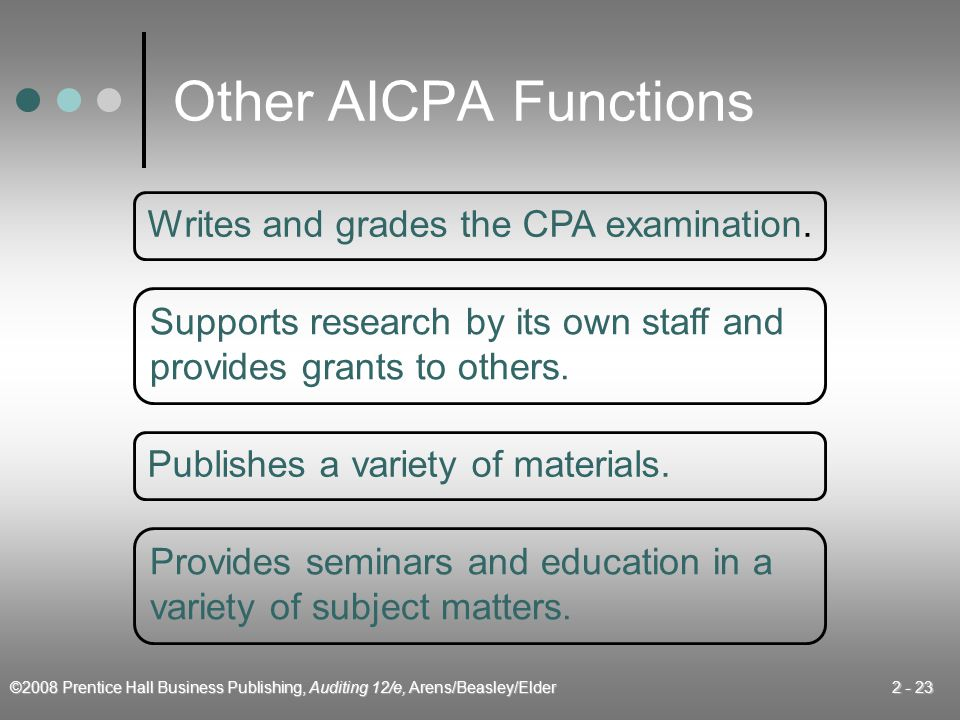 Other AICPA Functions Writes and grades the CPA examination.