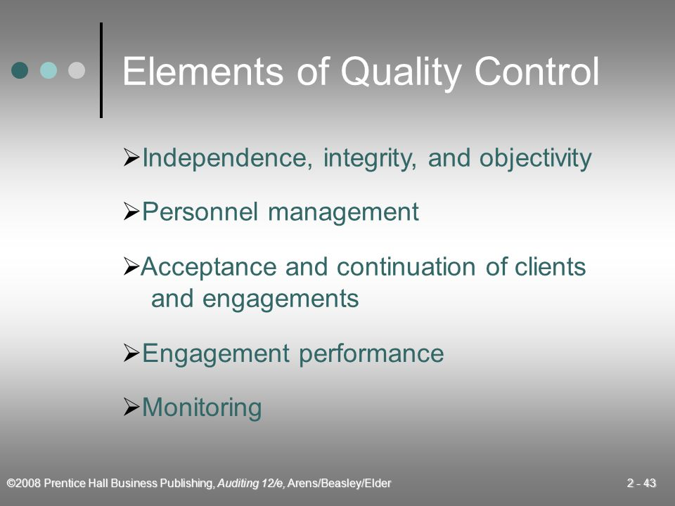 Elements of Quality Control