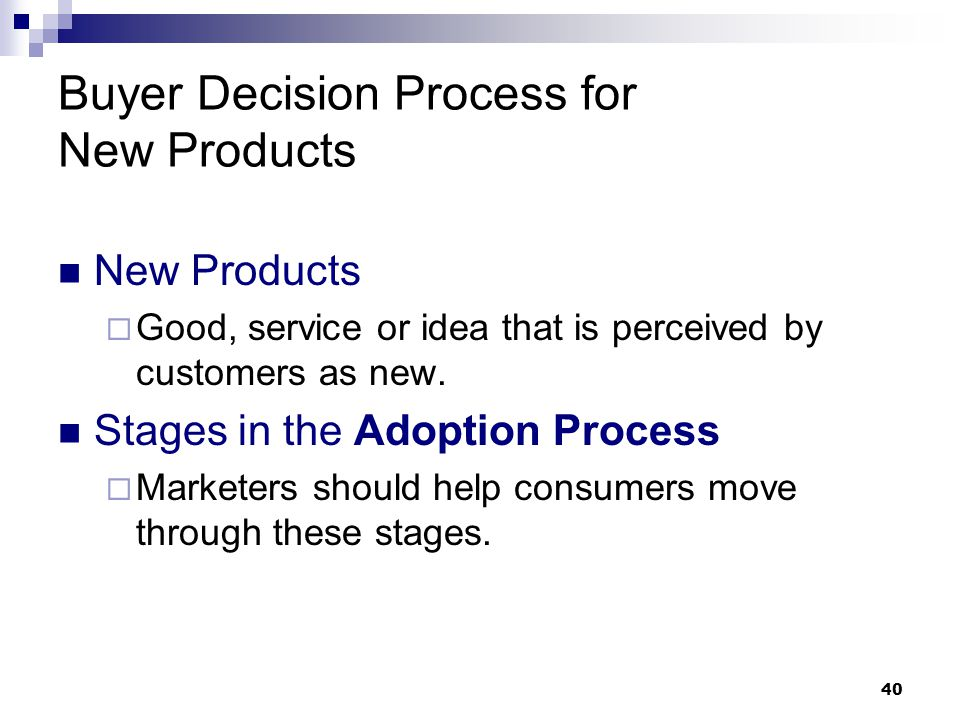 stages in the decision process buyer essay The process starts with need recognition, where the buyer recognizes a problem or need the consumer may then undertake an information search , and sources include personal sources, commercial sources, public sources, and experiential sources.